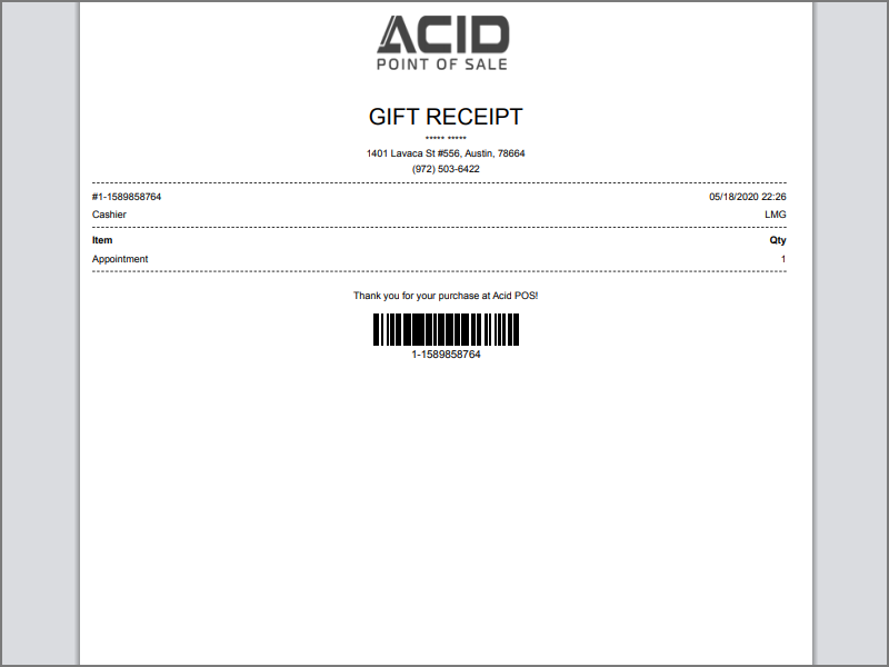 Print gift receipt for appointment if needed
