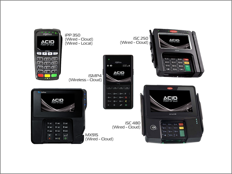 We support all major credit card terminals