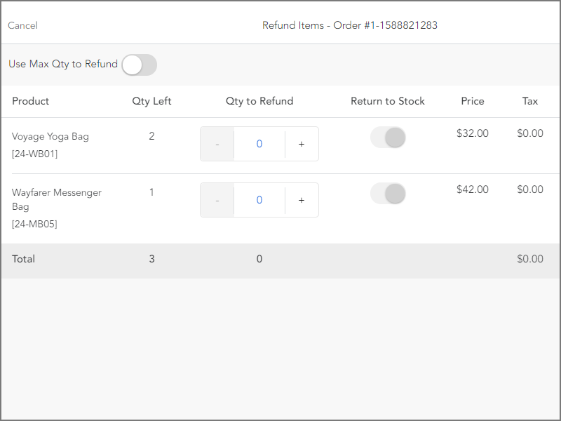 Select items to refund and return to stock options