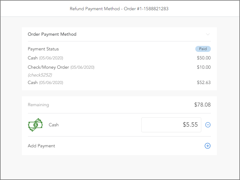 Refund to split payment or normal payment