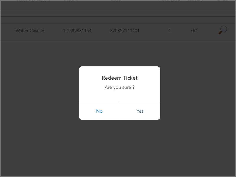 Enter tickets manually with confirmation