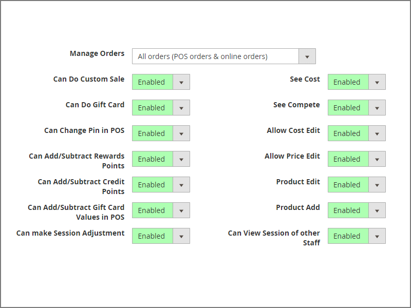 Multiple User Permissions in ACID POS